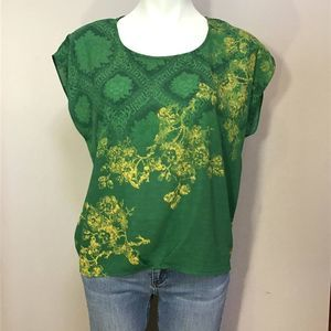 CAbi Green Envy Yellow Floral Top S style 597